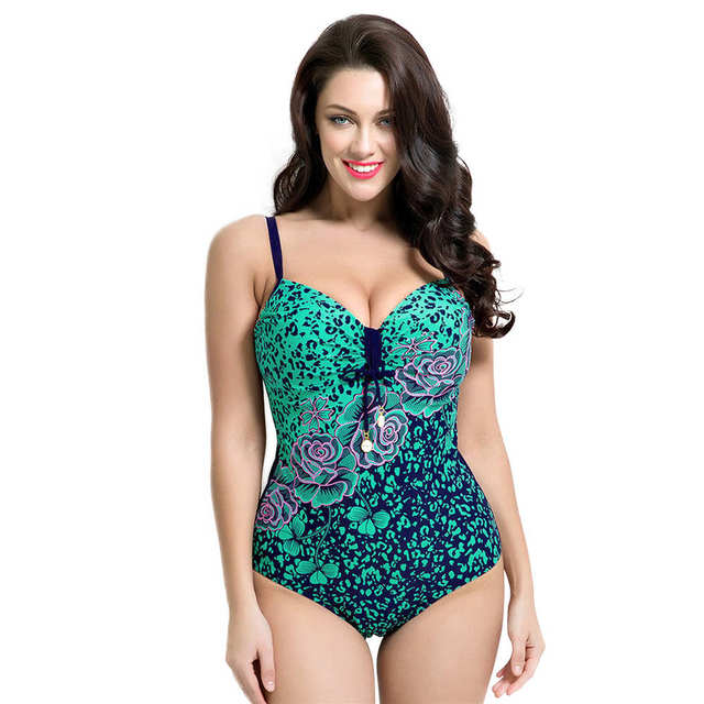 3891760277677 2017 Plus Size Swimwear Women Push Up One Piece Swimsuit Floral Bathing  Suits Large Size Swim Suits 4XL Monokini Maillot De Bain