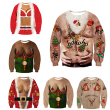 0571bb5fbf 2019 Ugly Christmas Sweater Santa Claus Printed Loose Sweater Men Women  Pullover Christmas Novelty Autumn Winter