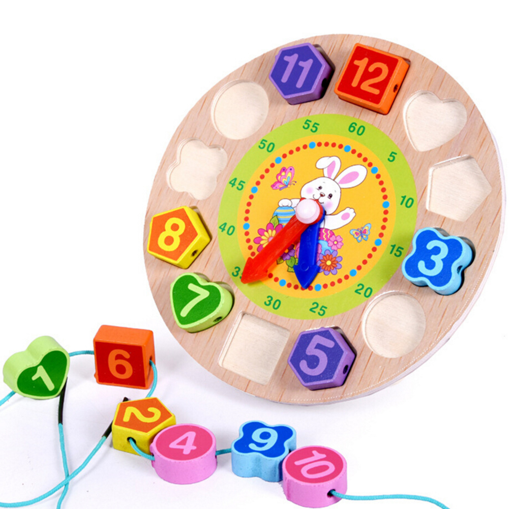 Vitoki Children Mental Development Toy Wooden 12 Number Clock Toy Baby Colorful Digital Geometry Educational Sorting Nesting Toy