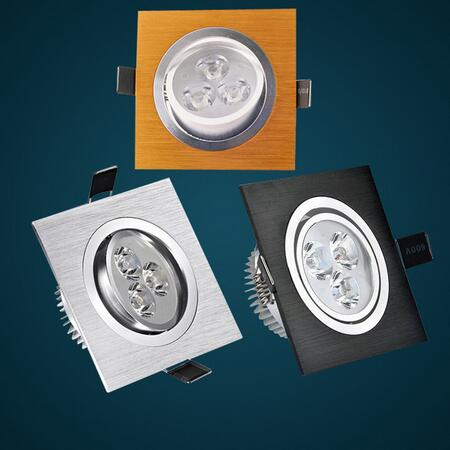 1 ცალი LED Down Light Square 9W 12W 15W 21W Led dimmable Downlight Recessed Led Ceiling Down Light Lamp Indoor AC85-265V მძღოლი