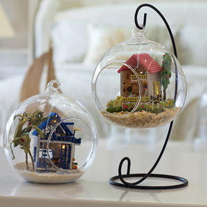 Candle-Holder Glass-Ball Hanging-Stand Iron-Art Home-Decoration Wedding Retro Lantern