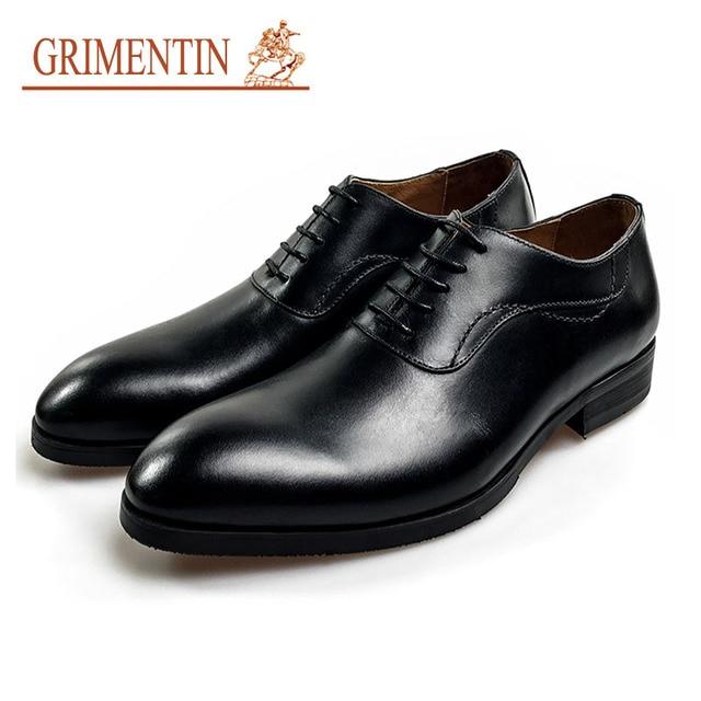 GRIMENTIN men genuine leather shoes men lace up dress shoes black formal  shoes business office shoes 7fd5613138db