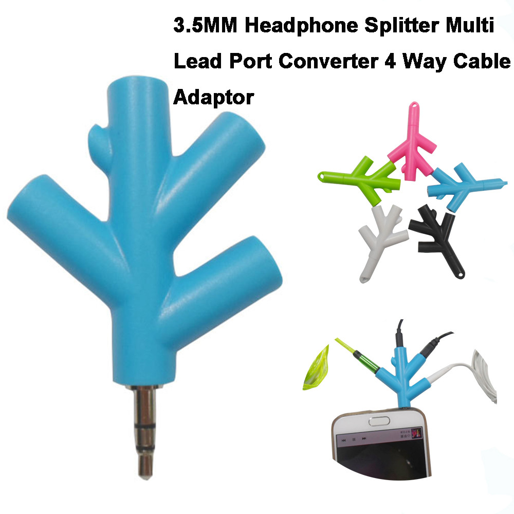 ABS+Metal 3.5MM Headphone Splitter Multi Lead Port Converter 4 Way Cable Adaptor 1 Audio Input And 4 Audio Output