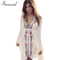 Simenual BOHO Embroidery Flowers Swimwear Beach Dress Ladies 2017 Deep V Neck Sexy Vintage Dresses Women