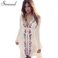 Simenual BOHO Embroidery Flowers Swimwear Beach Dress Ladies 2017 Deep V Neck Sexy Vintage Dresses Women