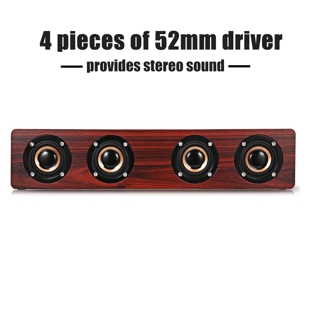 W8 wooden Speaker Soundbar Computer Speaker Stereo Sound FM Player bluetooth speaker Wooden Design Support TF Card AUX dbigness bluetooth speaker soundbar magnetic stereo sound subwoofer tf card speaker bluetooth boombox for computer tablet tv