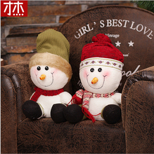 2017 Natal 23cmX16Cm Christmas Sitting Snow Man  Doll Figurine Toy Christmas Decorations For Home Children Christmas Gift
