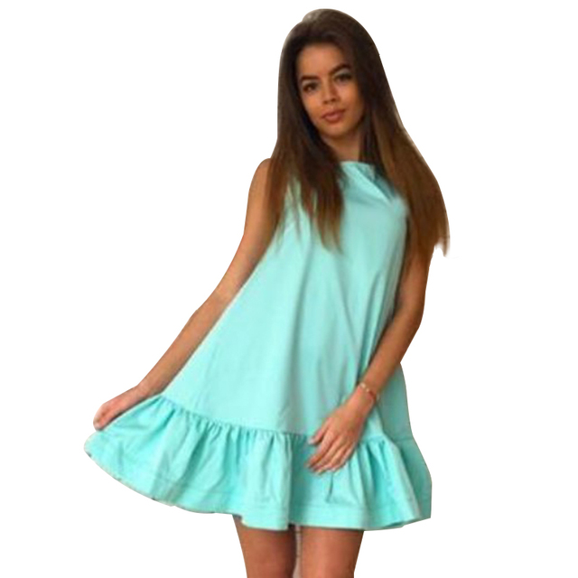 Summer dress Solid sleeveless A-line Beach Casual dress o-neck loose Women Dress above knee mini Ruffles dresses 2017 SLD57