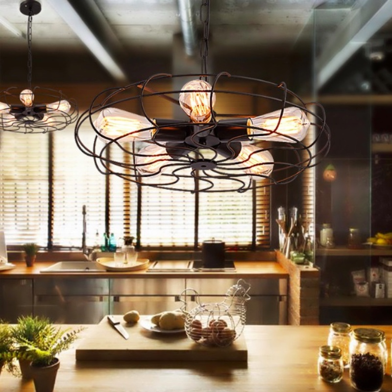 Vintage Industrial Black Iron Fan Design Led E27*5 Chain Pendant Light for Dining Room Restaurant Bar Decor Lamps - 2