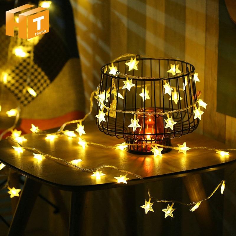 LED Star String Lights Battery Operated 5M 50LEDs /10M 100LEDs 220V Christmas Wedding Decoration Fairy Lights