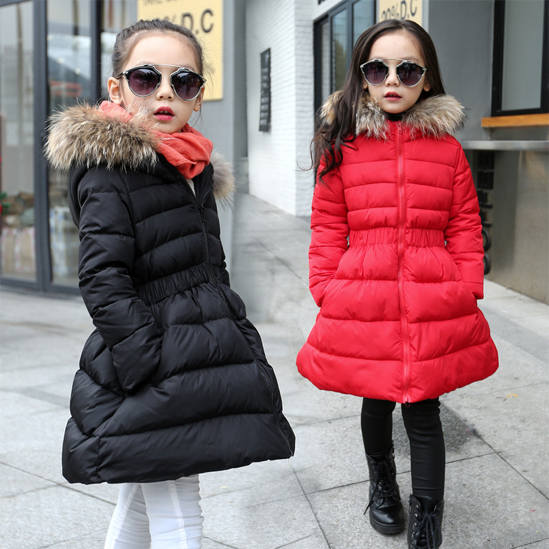 ФОТО Winter Korean Girls Accept Waist Collars Hairy Cotton-padded Clothes Hooded Jacket Kids Coat Clothing Red Black Fur