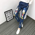5xl plus big size denim jeans pants women spring autumn 2016 bermuda feminina cowboy cartoon print denim pants female A1430
