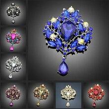 Роскошная роскошная женская брошь в форме цветка, каплевидные Стразы