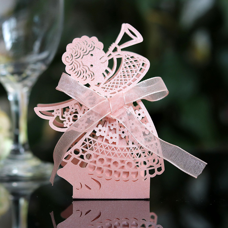 50pcs Laser Cut Hollow Carriage Favor Gifts Angel Girl Candy Boxes With Ribbon Birthday Baby Shower Wedding Party Favor Supplies in Gift Bags Wrapping Supplies from Home Garden
