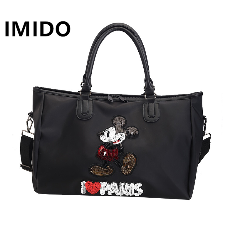 IMIDO 2019 Spring New Short Journey European And American Sequins Mickey Portable Large Capacity Fitness Waterproof Luggage BagIMIDO 2019 Spring New Short Journey European And American Sequins Mickey Portable Large Capacity Fitness Waterproof Luggage Bag