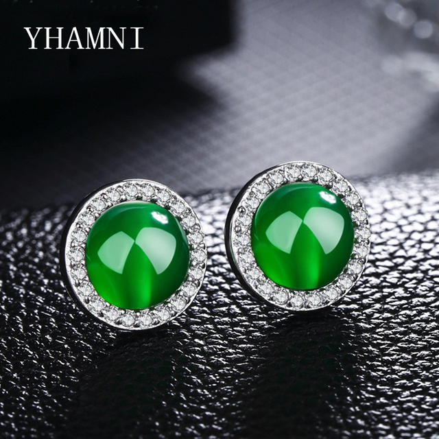 Yhamni Original 925 Sterling Silver Round Stud Earring Red Green Gem Crystal Zirconia For
