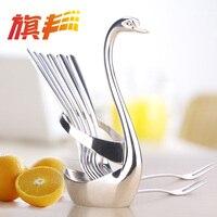 Swan Stainless Steel Fruit Forks Food Fork Spoon Knife Base Holder Creative Gift Tableware Knife Base Holder Wedding Decoration