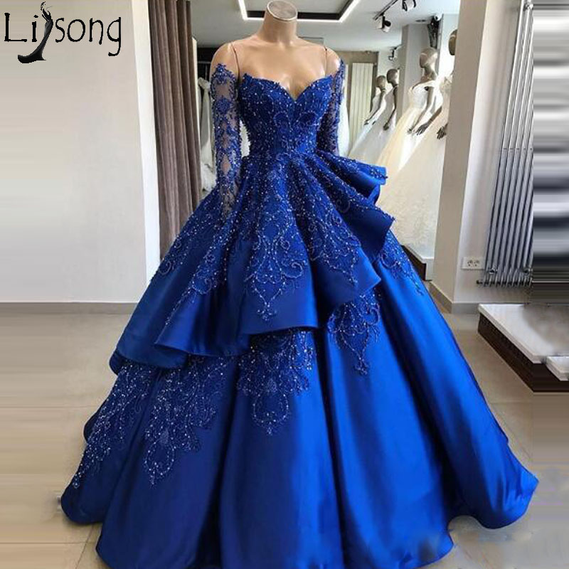 Ball Gown Long Sleeve Royal Blue Prom Dresses With Beads 2019 Real Photo Sweetheart Plus Size Special Occasion Party Evening Gown Dresses 299