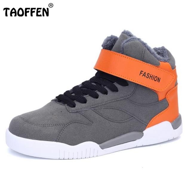 Zapatos de los hombres Top Moda de Nueva Invierno Frente de Encaje Hasta Zapatos Casuales más de Tobillo Zapatos de Cuña de Piel Gruesa de Los Hombres Mantener Caliente Nubuck Calzado