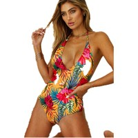 7f7e1241040b4 Wholesale backless swimwear New peony Floral printing one piece womens  swimsuit V-chest bodysuit swimwear