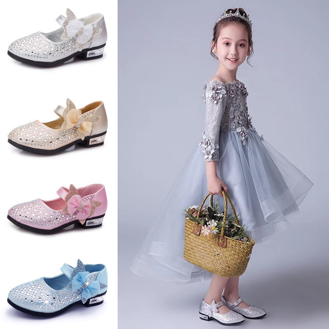 POSH DREAM 2019 Rhinestone Girl Princess Girls Sneaker Shoes Bowknot High Hell Children PU Leather Shoes Children Toddler Shoes