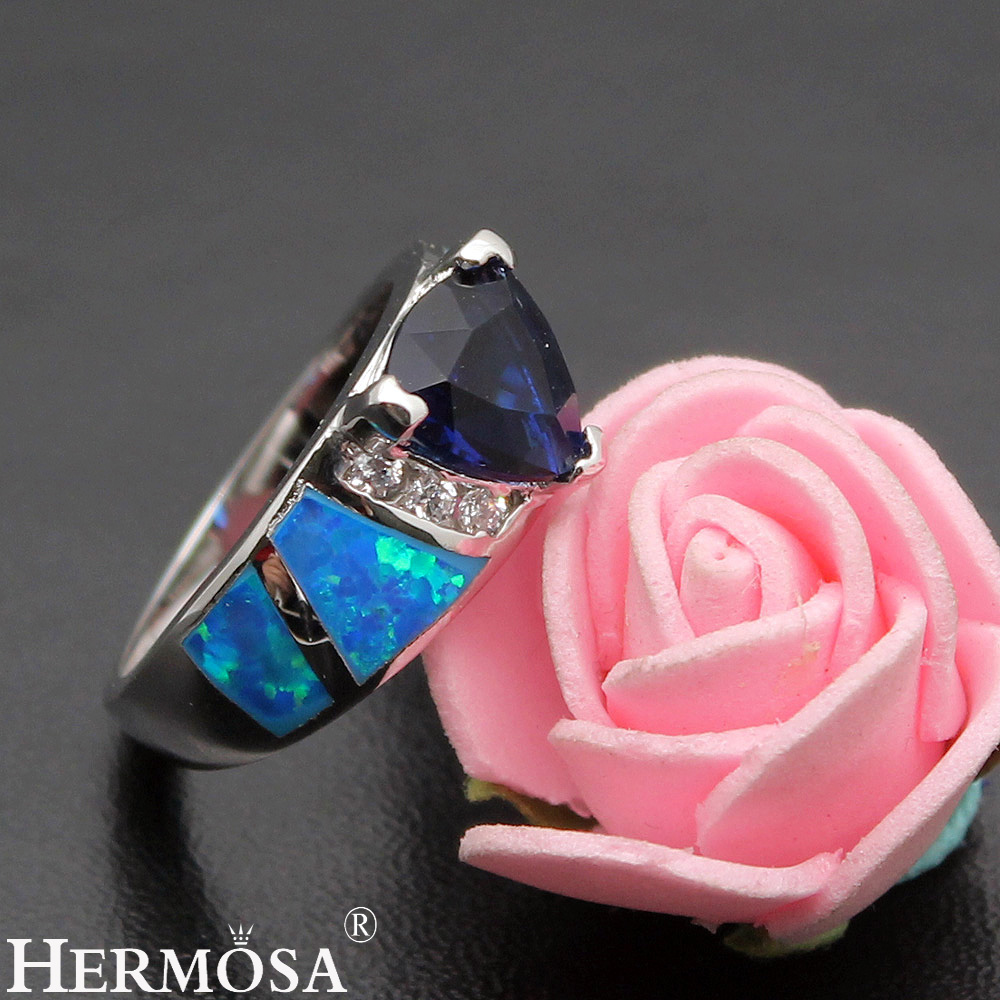 Большая Акция натуральный австралийский опал синий Sapphire925 стерлингового серебра горячее обещание кольцо Размеры 7 DF68