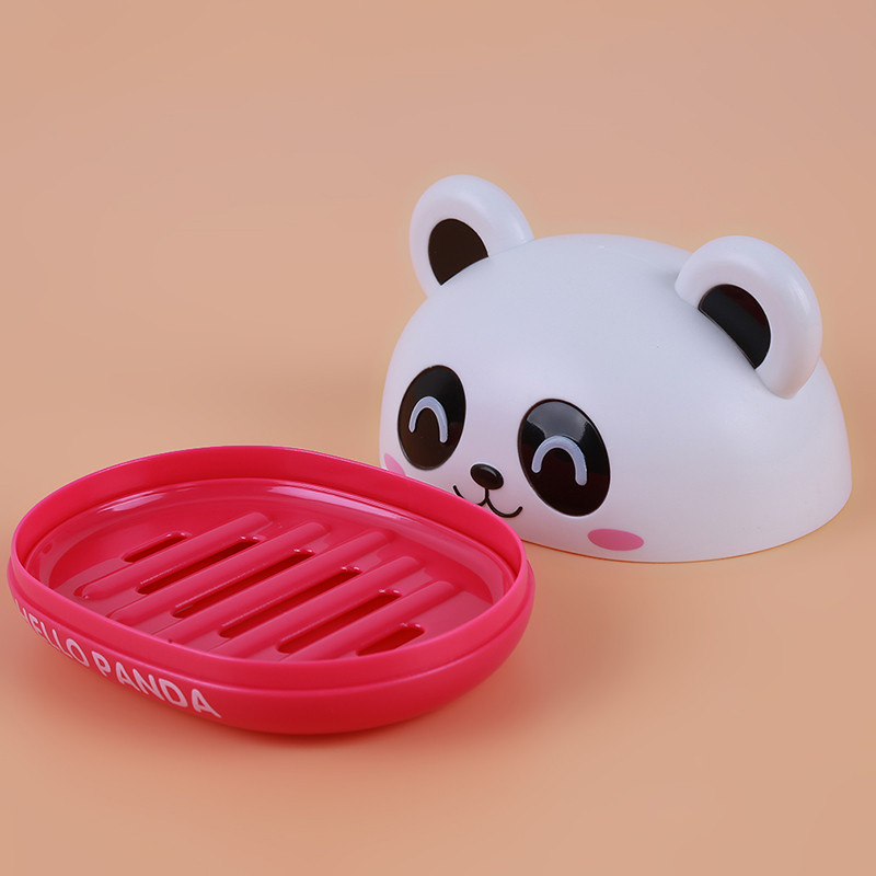 Cute Panda Practical Soap Box with Cover Draining Soap Dish Bathroom Accessories