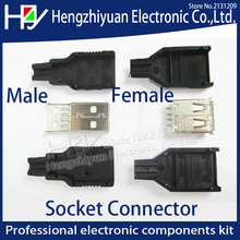 IMC hot New 10pcs Type A Male A Female 2.0 USB 4 Pin Plug Socket Connector With Black Plastic Cover Solder type DIY Connector 2018 hot sale 10pcs usb type a standard port female solder jacks connector pcb socket usb a type