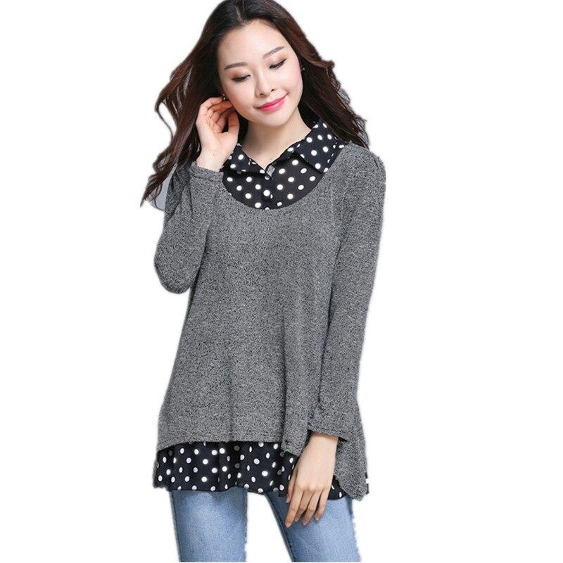 2018 printemps automne grande taille femmes lâche Point imprimer hauts femme à manches longues col de chemise T-shirt femmes gris fond 161