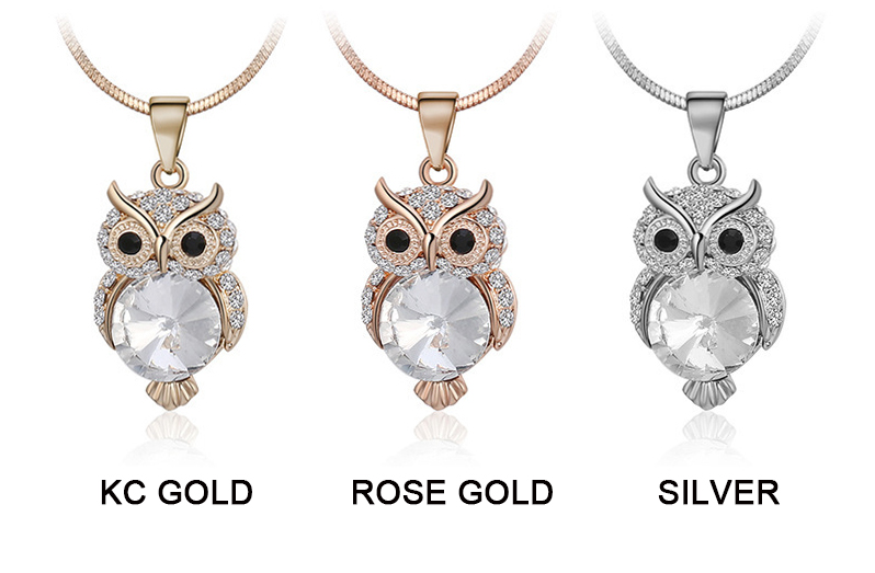 Small Gold Diamond Owl Pendant Necklace