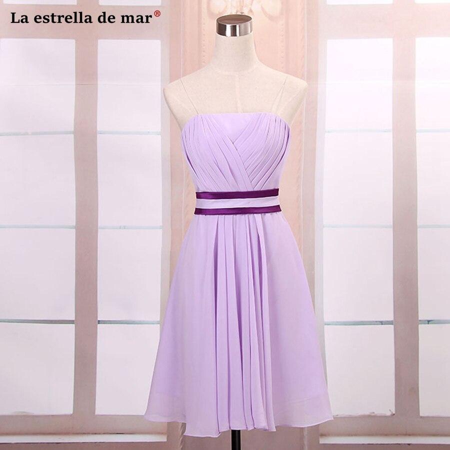 Vestidos de madrinha2018 new chiffon sexy sweetheart a Line lilac   bridesmaid     dresses   knee length wedding party   dress