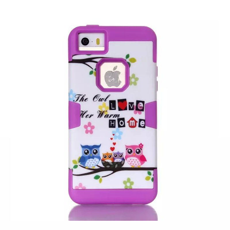 For Iphone 5c Case High Quality Owl Protective Shell Case Silicone 3 in 1 Quakeproof Protective