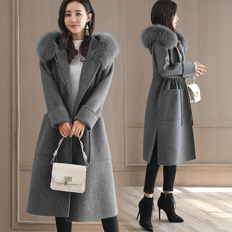 Fashion Solid Women Long Woolen Coat Slim Zippers Women's Jacket Pockets Fur Collar Blue Cashmere Coat and Jacket