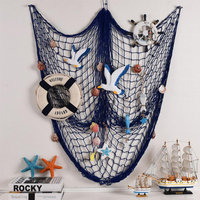 Pa.an Mediterranean Home Decoration Crafts Shells Starfishes Rudder Fish Net Creative Living Room Bedroom Wall Hanging Art Decor