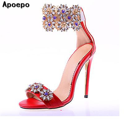 2017 Hot selling sandal for woman sexy open toe high heel sandal bling bling crystal embellished wedding shoe ankle strap sandal new fashion big pearls beaded woman flat shoes 2017 sexy open toe sandal crystal embellished slides