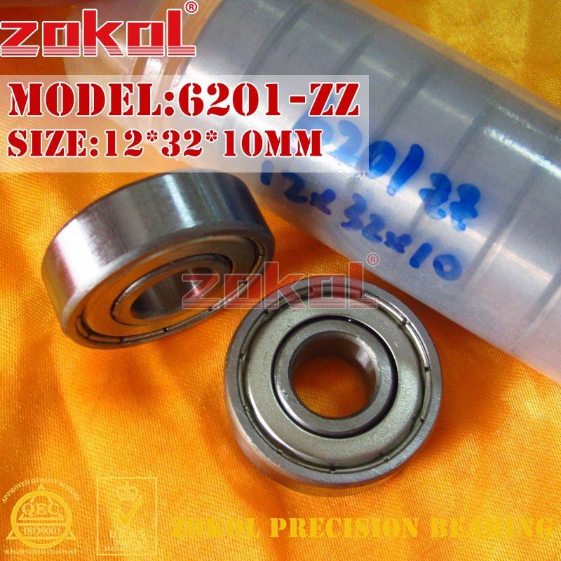 ZOKOL 6201ZZ Bearing 6201 RS S6201ZZ 6201 2RS RZ Z3V3 Z1 Deep Groove Ball Bearing 12*32*10mm