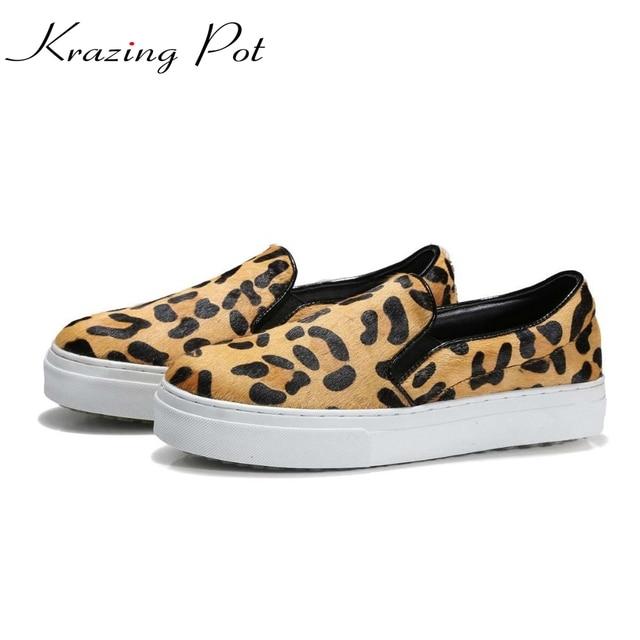 Krazing Pot hot round toe slip on platform causal genuine leather horsehair Leopard lofters lazy women vulcanized shoes L7f1