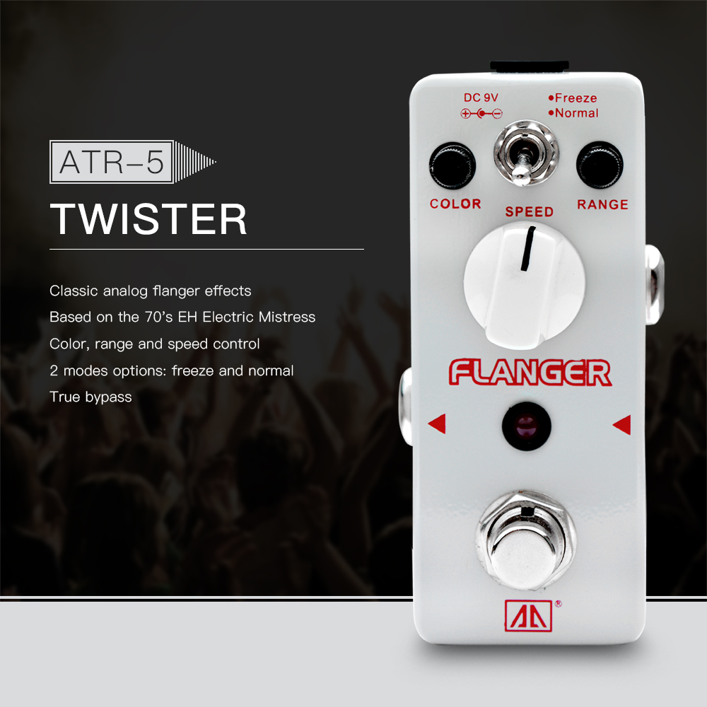 AROMA ATR-5 Twister Classic Analog Flanger Guitar Effect Pedal 2 Modes Aluminum Alloy Body True Bypass aroma adr 3 dumbler amp simulator guitar effect pedal mini single pedals with true bypass aluminium alloy guitar accessories