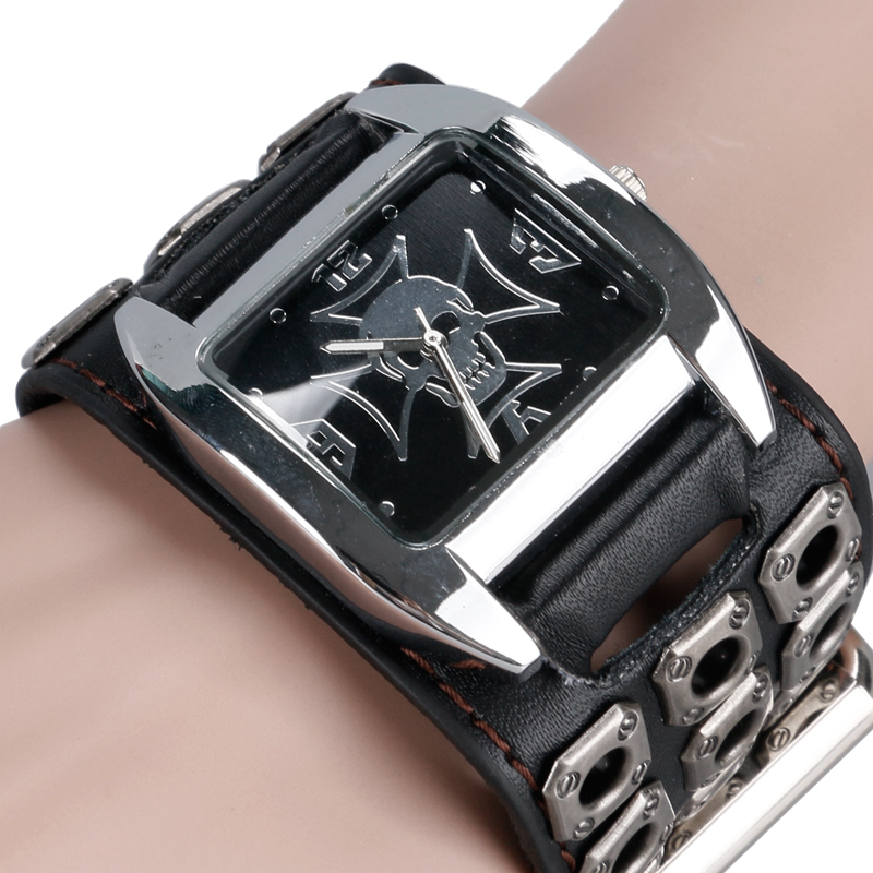 Rock Xmas Gift New Arrival Watch Men Cuff Special Design Skull Casual Hollow Leather Band Strap