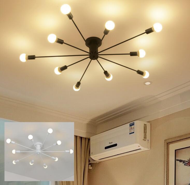 US $80.64 5% OFF|Oberfläche montiert Eisen rohr decke lampe led lampe  optional industrie LOFT schwarz weiß wohnzimmer retro foyer decke licht-in  ...