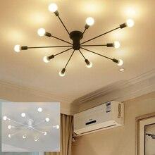 Montado en la superficie de tubo de hierro tubo para techo lámpara de LED bombilla LED opcional LOFT industrial negro blanco Sala retro techo de Hall Luz