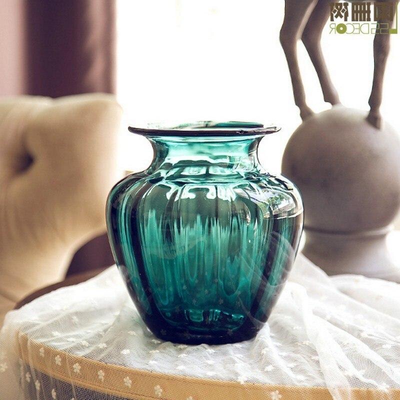 Turquoise Embossment 7 Inch Glass Vase Handmade Glass Flowers Pot Holder Hand Blown Art Glass Vase Wedding Home Decor Ornament
