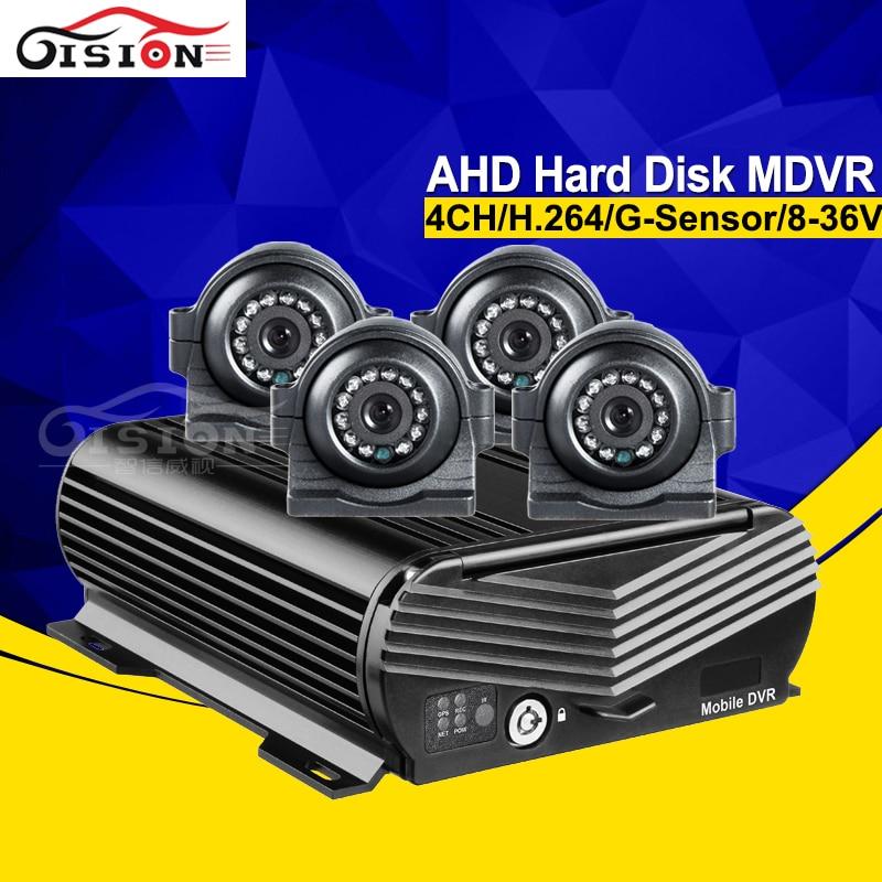 4CH H.264 автобус Ван жесткий диск HDD Мобильный Dvr + 4 шт. сбоку/спереди заднего вида Ночное видение ИК IP67 водонепроницаемый 2.0MP AHD автомобиля Камер