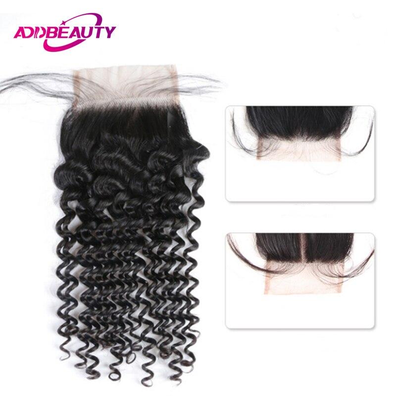 4x4 Lace Closure Brazilian Unprocessed Virgin Human Hair Deep Wave Free Middle Part Natural Color AddBeauty