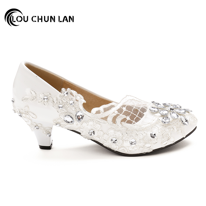 Free Shipping White Wedding Shoes Office Bridesmaid Bridal Rhinestone Lace High Heels Women Pumps Size 41 44 In S From