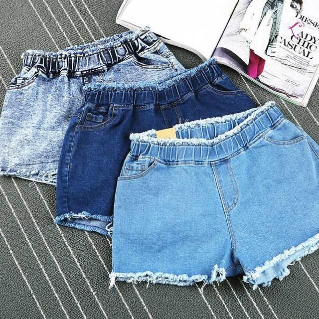 Ripped denim shorts cintura elástico de las mujeres de la vendimia corta de jeans femme retro pantalones cortos para el verano de las mujeres corto en jean taille haute