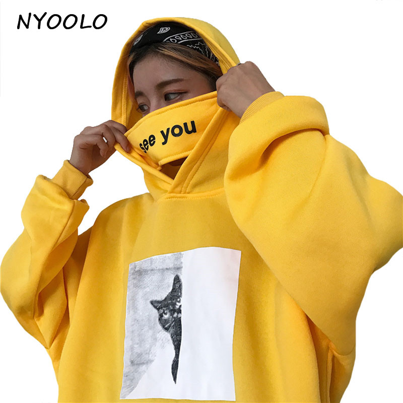 Nyoolo Autumn Winter Hoodies Special Design See You Mask Cat Print Pullovers Hooded Sweatshirt Women/Men Clothing Tops by Nyoolo
