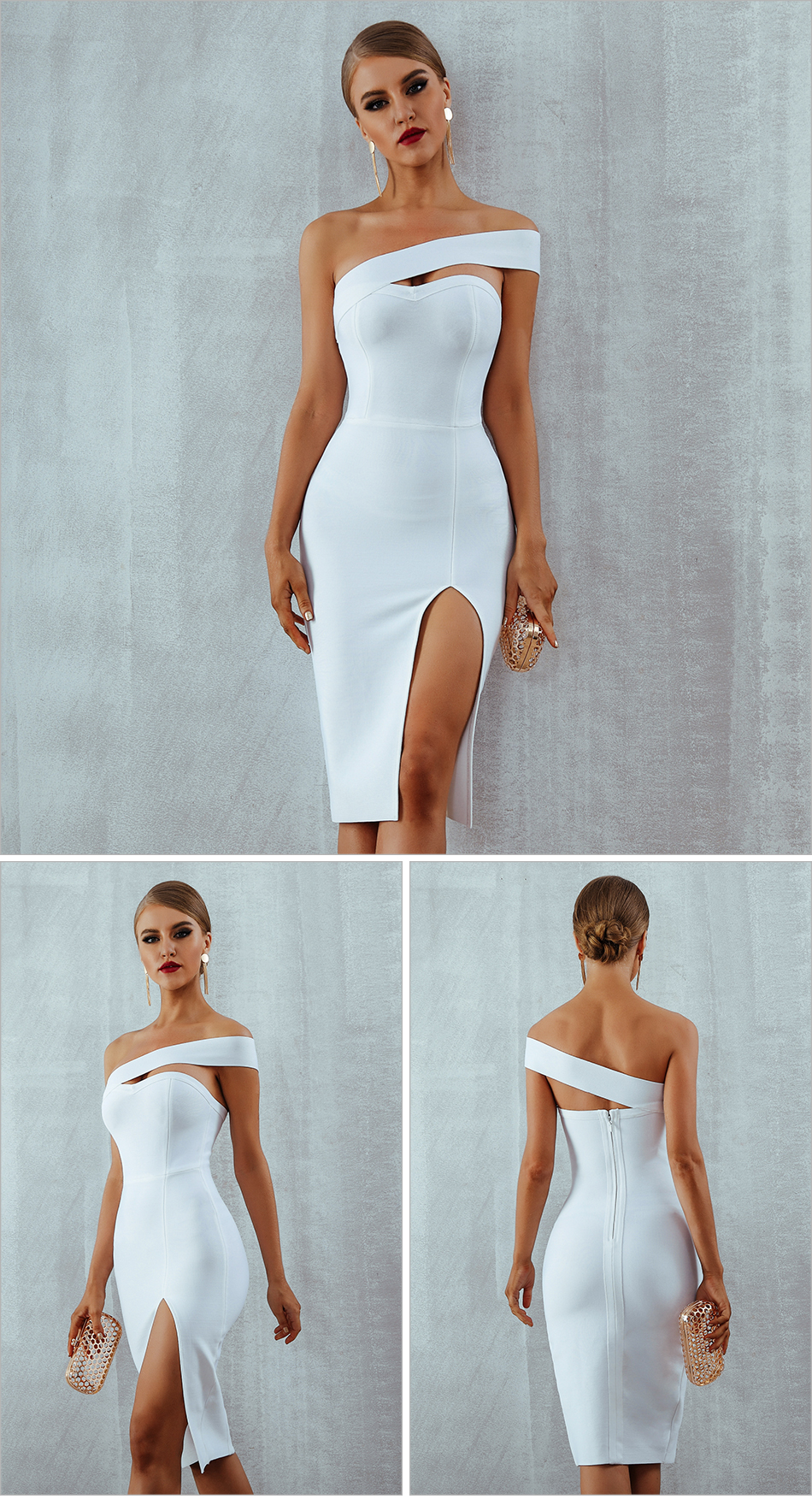 HTB19m9uEbGYBuNjy0Foq6AiBFXag - Adyce White Bodycon Bandage Dress Women Vestidos Summer Sexy Elegant Black One Shoulder Midi Celebrity Runway Party Dresses