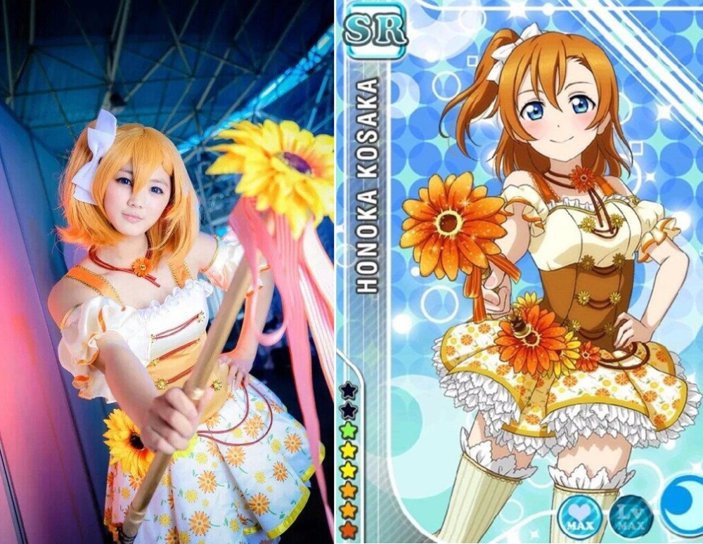 Free Shipping LoveLive! Card SR Flower Elf Kousaka Honoka Cosplay Fancy Dress Halloween Costumes for Women Adult S-L