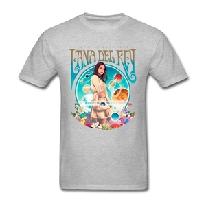 Image 2 - Camiseta de Lana Del Rey fanart para hombre, ropa de manga corta, camisetas populares de algodón con cuello redondo de talla grande, camisetas de Fitness para hombre